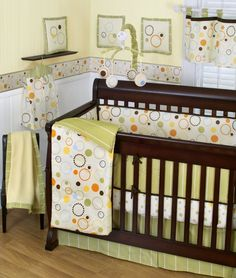 Baby Nursery Cool Unisex Baby Room Theme With Circular Motif And Dark Brown Wood Baby Bedding Frame With Unique Baby Room Decoration Ideas Colorful Baby Boy Cribs, Baby Crib Bedding Sets, Nursery Bedding, Crib Sheets, Nursery Room, Bedding Decor, Room Decor, Baby Room Themes, Nursery Themes