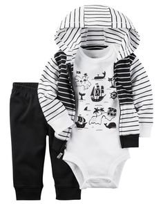 Baby Boy 3-Piece Babysoft Little Jacket Set Our classic babysoft cotton features a pirate print bodysuit in this 3-piece set. Paired with essential pants and a striped jacket to match, he's all set to sail!