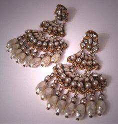 Vintage Miriam Haskell pearl earrings