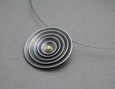 QUOIL Artists - Kate Alterio, All Returns To the Centre pendant, S. silver, 24ct gold, diamond $795