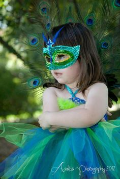 Handmade Peacock tutu dress, mask, and tail feathers, only $45 for entire outfit!! Love love! Costume, tutu, tulle