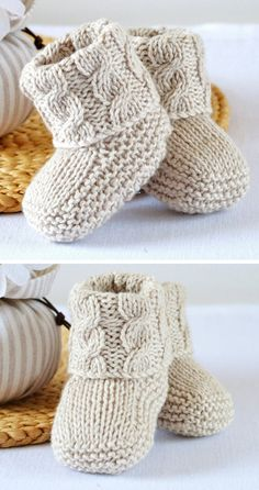 Baby Cable Booties - Knitting Pattern - Diy and crafts interests Baby Booties Knitting Pattern, Baby Boy Knitting Patterns, Knit Baby Booties, Knitting For Kids, Knitting Designs, Baby Patterns, Free Knitting, Knitting Projects, Cable Knitting