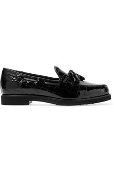 Tod's Tasseled croc-effect patent-leather loafers $645 Heel measures…