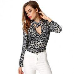 Stylish Ladies Women Casual Stand Collar Key-hole Long Sleeve Loose Shirt