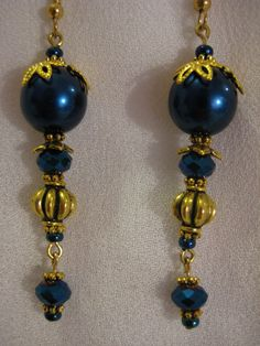 Peacock Blue Pearl and Crystal Earrings With by JadedJewelsUK, £8.00