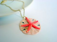 Handpainted Sand Dollar and Starfish Charm Necklace