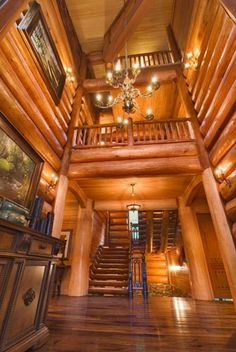 The Original Log Cabin Homes Interior Tour Showcase... I'd never be able to afford even half this put its beautiful!