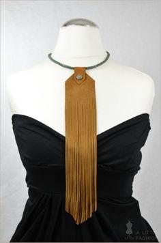 Trendiges Collier Kette aus Leder mit Fransen - Ein Designerstück von A-Little-Fashion