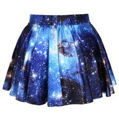 Universe Cosmic Galaxy Nebula Space Print Elastic Circle Skirt in Blue