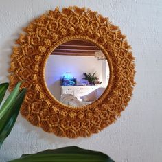 It will decorate your room with bohemian touch and romantic character. Macrame dimensions: - 21 Inch Mirror dimension - Inch Made from colored cotton rope and glass mirror. Macrame Wall Hanger, Macrame Mirror, Handmade Crafts, Handmade Items, Macrame Design, Macrame Patterns, Decorate Your Room, Flower Mandala, Round Mirrors