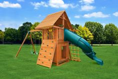The Dream Jungle Gym #7 has a bottom playhouse, along with a wood roof and the cool spiral slide. Loaded with fun for kids of any age. Swing set comes complete with everything pictured.