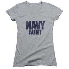 Trevco Navy-Aunt Junior V-Neck Tee, Athletic Heather - XL, Infant Boy's, As Shown