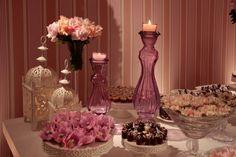 Velas na mesa dos doces