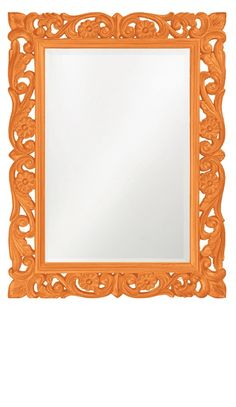 Wall Mirrors, Orange Baroque Bedroom Mirror, great splash of color, one of over 3,000 limited production interior design inspirations inc, furniture, lighting, mirrors, home accents, accessories, decor and gift ideas to enjoy repin and share at InStyle Decor Beverly Hills Hollywood Luxury Home Decor enjoy & happy pinning