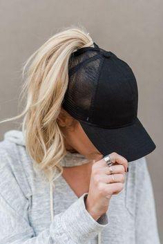 b4501afd31b Messy Bun Baseball Hat - Black Mesh Cute Baseball Hats