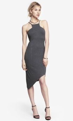 Gray Asymmetrical CUT-IN CAMI DRESS from EXPRESS $45