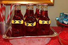 Ninja Juice: These are strawberry Crush.  I took the labels off and added some more ninja eyes.