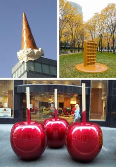 Giant Candy Apples By street artist Celso. Waffle by Martha Friedman. Dropped cone by Claes Oldenburg and Coosje van Bruggen.