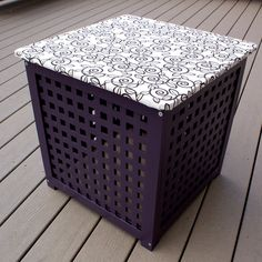 is the Ikea Hol side table with storage painted with fabric attached to lid.This is the Ikea Hol side table with storage painted with fabric attached to lid. Ikea Side Table, Side Table With Storage, Side Tables, Ikea Storage, Cube Storage, Ikea I, Simple Desk, Home Goods Decor, Glass Shelves