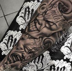 Gangster Tattoos, Dope Tattoos, Hand Tattoos, Chicanas Tattoo, Tattoo Bein, Clown Tattoo, Money Tattoo, Forarm Tattoos, Tatoo Art