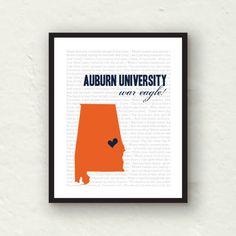 @Rebekah Ahn Gerritsen :) Auburn University Auburn football print by PaperFinchDesign