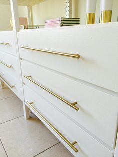 Brass Drawer Pulls - Perfect idea for an Ikea Hack - Looks gorgeous on this Ikea Ivar Cabinet Hack