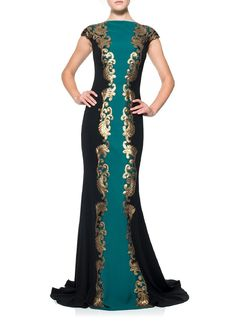 Tadashi Shoji Women's Cap Sleeve Baroque Detail Gown 10 Elm/Black/Gold. Dry clean only. Imported. Cap sleeve. Center metallic baroque detail. Full back (mirrors front).