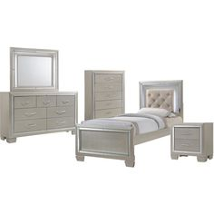 Cambridge Elegance 5-Piece Twin-Size Bedroom Suite: Bed, Dresser, Mirror, Chest, and Nightstand