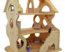 Wooden Dollhouse - Toy Dollhouse - Play Dollhouse - Handcrafted Natural Wooden Toy Dollhouse-Hannah's Dollhouse-Waldorf Dollhouse-Montessori