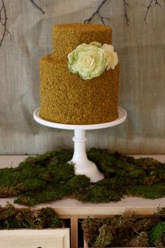 I Like: The graham cracker and gold dust all over the cake. The green tinged flower. (Idea: Would be cute for a key lime pie cake.)