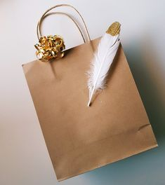 Giftwrap xmas simple brown paper bag gold feather 🎁🎄