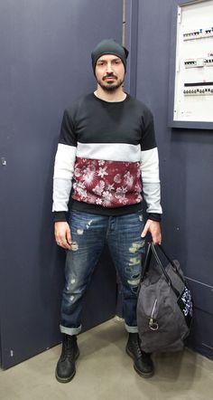 GET THIS LOOK on http://officineconcept.com/it/felpe/814-felpa-fiori-campo-bordeauxmelangewhite.html  #unity sweater #scotch&soda jeans #denim #5preview bag #drmartens shoes