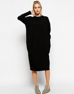 Black wool knit dress