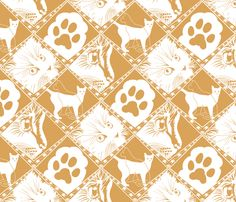 High Five Kitty! fabric by art_on_fabric on Spoonflower - custom fabric in a contest. vote for it here at CAT DAMASK http://www.spoonflower.com/contests/268