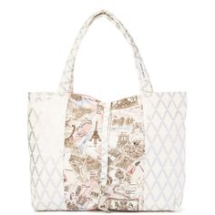 Denise Tjarks Cream Paris Map Venice Tote ($20) ❤ liked on Polyvore featuring bags, handbags, tote bags, handbags tote bags, tote bag purse, white handbags, cotton purse and white tote bag