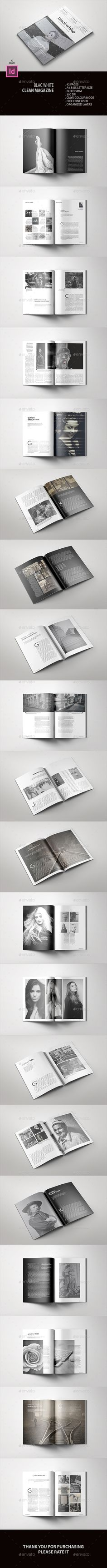 Black White Clean Magazine — InDesign INDD #art #design • Available here ➝ https://graphicriver.net/item/black-white-clean-magazine/20731763?ref=pxcr