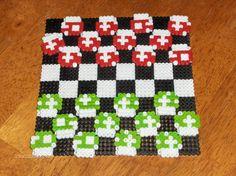 Super Mario mushroom perler beads checkers set von coolstuffforsale