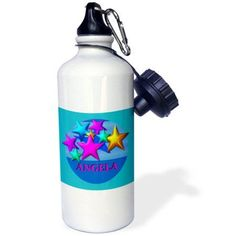 3dRose Vibrant colored stars on a blue background personalized with the name Angela, Sports Water Bottle, 21oz