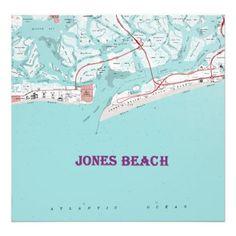 Vintage Jones Beach New York Map on Canvas Large F Print