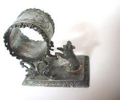 VICTORIAN Figural Silver Napkin Ring Holder Begging by Nostalgi, $350.00