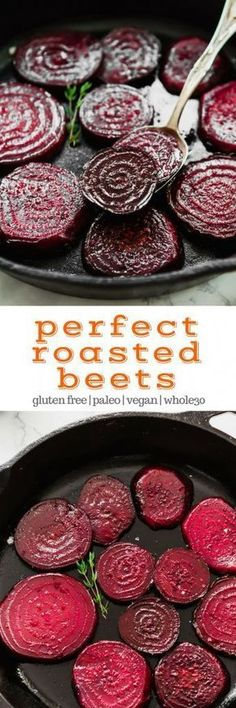 Perfect Roasted Beets Properly roasted beets are a far cry from those soggy tasteless pink slabs that come in a can. Roasted beets are sweet, rich, tender, and an incredible addition to salads – or great on their own! Whole Food Recipes, Vegetarian Recipes, Cooking Recipes, Vegan Beet Recipes, Beet Salad Recipes, Vegetarian Bake, Roast Recipes, Healthy Recipes, Side Dish Recipes