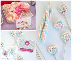 marshmallow em pirulitos decorados para festa infantil