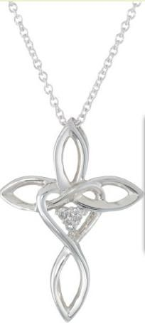 Women's Sterling Silver Diamond Cross Pendant Necklace with Heart (0.03 cttw, I-J Color, I2 Clarity) 18 inches All our diamond suppliers certify that to their best knowledge their diamonds are not conflict diamonds Imported Swirling Argentium metal creates this fashionable cross-shaped pendant design. Small diamond rounds accent the crossing section and add a gentle hint of sparkle Price $69.00