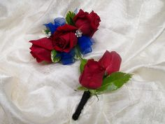 Wrist Corsage & Boutonniere Set - Red Spray Roses, Royal Blue Chiffon Ribbon, Flower Gem Accent, elastic wristlet  2016 Blue Corsage, Corsage And Boutonniere Set, Flower Corsage, Wrist Corsage, Prom Corsage, Beauty And The Beast Flower, Beauty And The Beast Theme, Beauty Blender Real Techniques, Blue Red Wedding