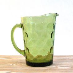 EGADS!!!I STILL HAVE THIS PITCHER!!! Green Glass Vintage Pitcher Hazel Atlas El Dorado by OllyOxes