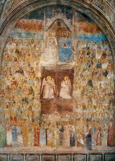 "On the left wall is the fresco depicting ""Paradise"" inspired by Dante's Divine Comedy. Nardo, Tempera, Fresco, Florence, Santa Maria Novella, Italian Art, Mural Painting, Christian Art, Kirchen"