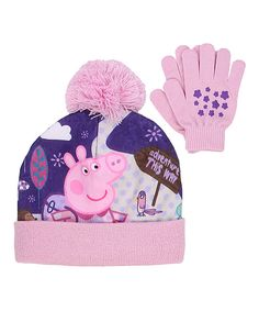 b5ce5ce9c0d Keep little Peppa fans toasty warm with this beanie and gloves set  featuring the famous pig herself.