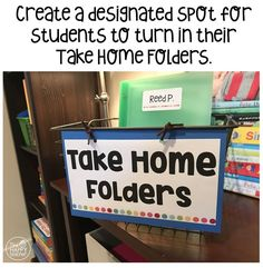 Find a cute basket and create a designated spot in your classroom for students to turn in their Take Home Folders. Choose a large, sturdy basket or bin that can hold all of the the students' folders. More ideas on organizing and managing homework folders Homework Turn In, 1st Grade Homework, 2nd Grade Classroom, Classroom Behavior, Classroom Setup, Classroom Management, Classroom Design, Behavior Management, First Grade