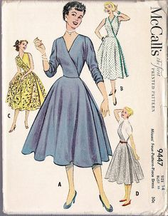 McCalls 9447 Vintage Sewing Pattern RARE 4 Pattern Pc Half and Half Dress Unique Design Mix n Match Half Dresses To Create New Looks Bust 34 -Authentic vintage sewing patterns: This is a fabulous original dress making pattern, not a copy. Old Dresses, Unique Dresses, Vintage Dresses, Vintage Outfits, Dress Making Patterns, Vintage Dress Patterns, 1950s Fashion, Vintage Fashion, Patron Vintage