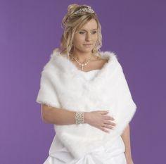 Luxury White Faux Fur Bridal Stole